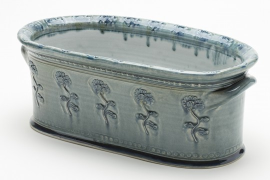 A&J Young Pottery oval plant trough - aqua