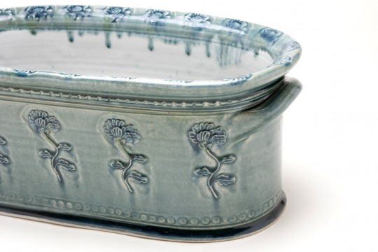 A&J Young Pottery oval plant trough detail - aqua