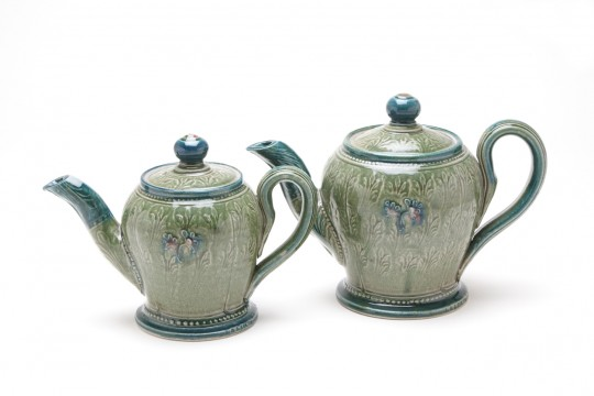 A&J Young Pottery teapot - green