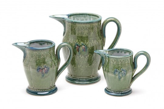 A&J Young Pottery pouring jug - green