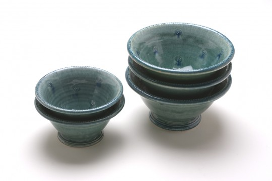 A&J Young Pottery footed soup & dessert bowls - aqua