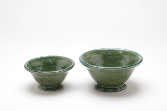 A&J Young Pottery footed soup & dessert bowls - green