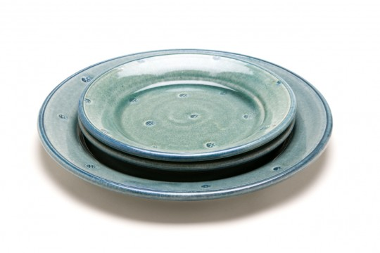 A&J Young Pottery patterned plate - aqua