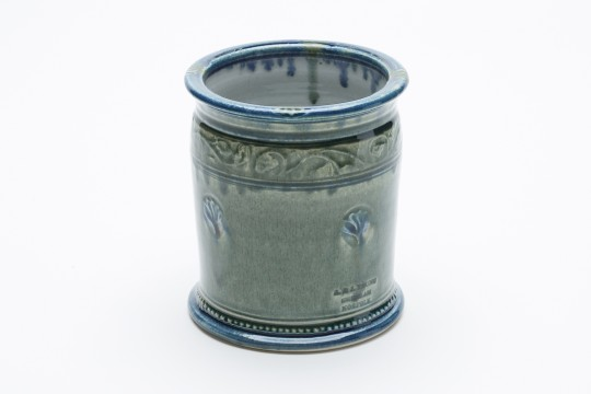 A&J Young Pottery utensil jar - aqua