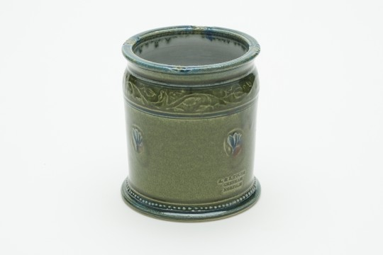 A&J Young Pottery utensil jar - green