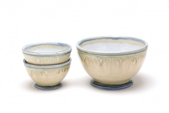 A&J Young Pottery bowl with stamped decoration - cream