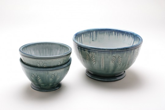 A&J Young Pottery bowls with stamped decoration - aqua