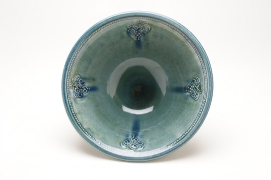A&J Young Pottery Salad Bowl detail - aqua