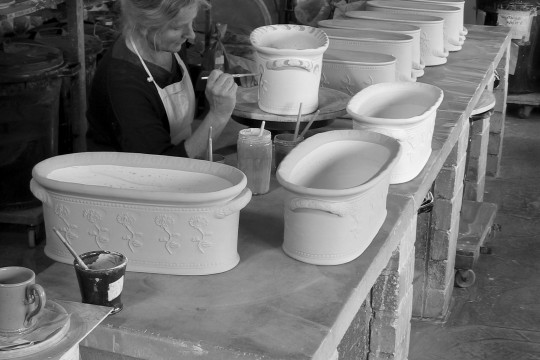 A&J Young Pottery - glaze decoration of troughs