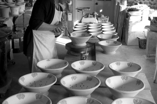 A&J Young Pottery - glazing colanders