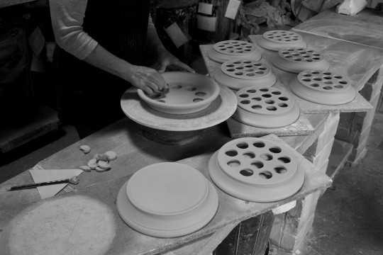 A&J Young Pottery - making holes in egg racks